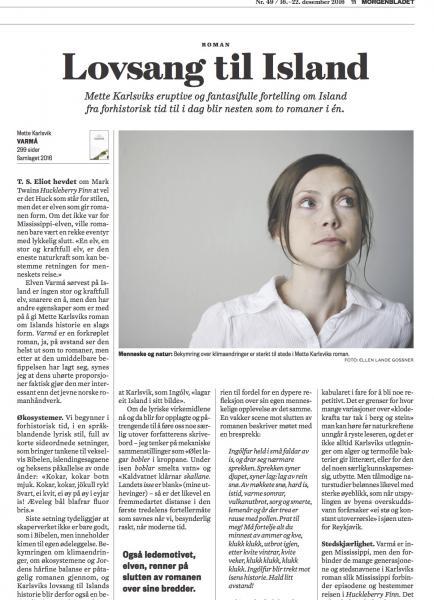 Faksimile frå Morgenbladet 16. desember 2016